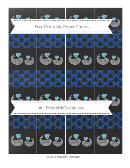 Free Sapphire Blue Fish Scale Pattern Chalk Style Baby Whale Paper Chains
