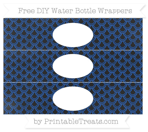 Free Sapphire Blue Fish Scale Pattern Chalk Style DIY Water Bottle Wrappers