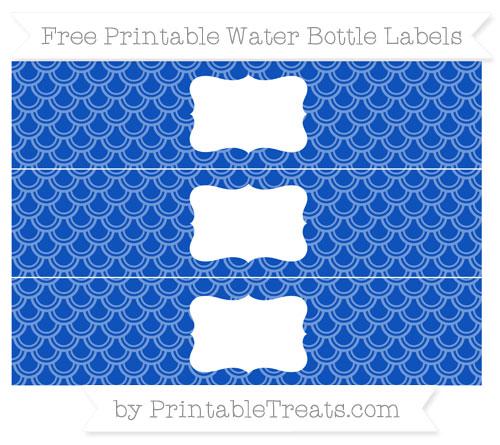 Free Sapphire Blue Fish Scale Pattern Water Bottle Labels