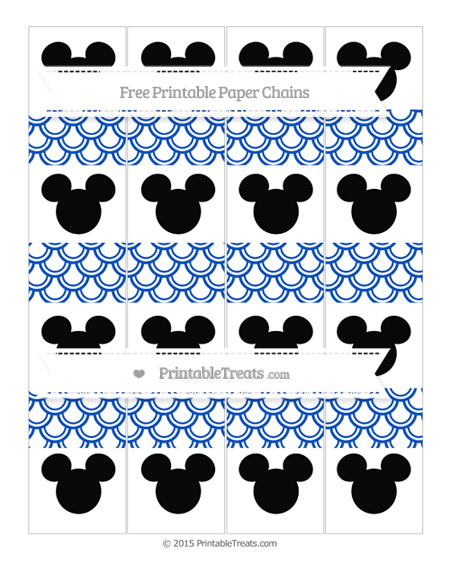Free Sapphire Blue Fish Scale Pattern Mickey Mouse Paper Chains