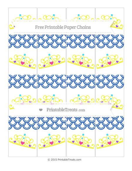 Free Sapphire Blue Fish Scale Pattern Princess Tiara Paper Chains