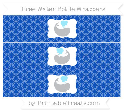 Free Sapphire Blue Fish Scale Pattern Whale Water Bottle Wrappers