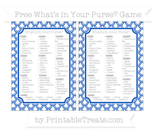 Free Sapphire Blue Fish Scale Pattern What's in Your Purse Baby Shower Game