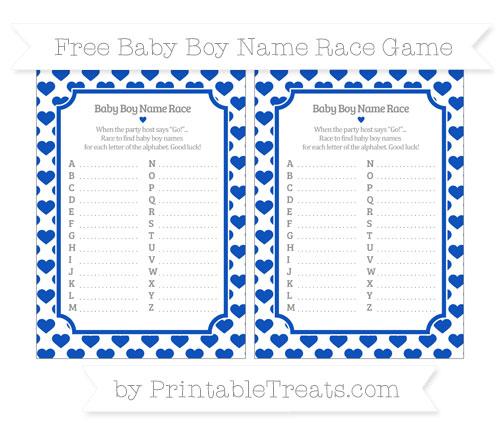 Free Sapphire Blue Heart Pattern Baby Boy Name Race Game