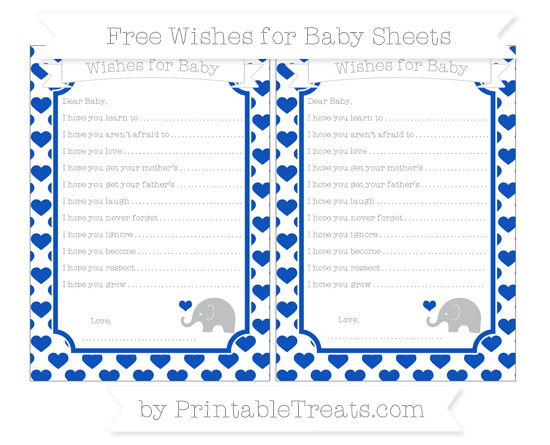 Free Sapphire Blue Heart Pattern Baby Elephant Wishes for Baby Sheets