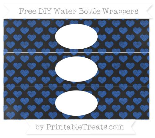 Free Sapphire Blue Heart Pattern Chalk Style DIY Water Bottle Wrappers
