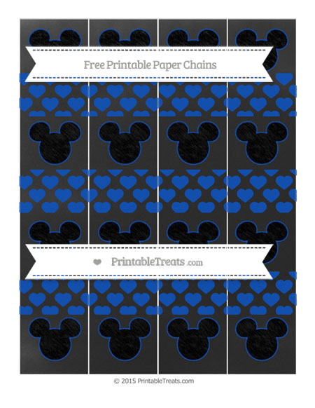 Free Sapphire Blue Heart Pattern Chalk Style Mickey Mouse Paper Chains