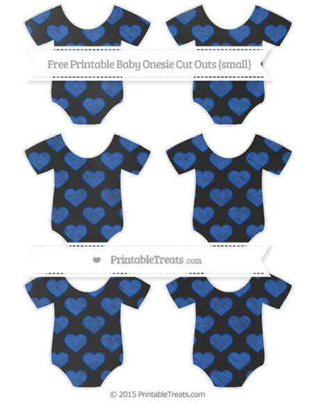 Free Sapphire Blue Heart Pattern Chalk Style Small Baby Onesie Cut Outs
