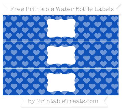Free Sapphire Blue Heart Pattern Water Bottle Labels