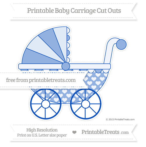 Free Sapphire Blue Heart Pattern Extra Large Baby Carriage Cut Outs