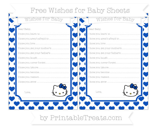 Free Sapphire Blue Heart Pattern Hello Kitty Wishes for Baby Sheets