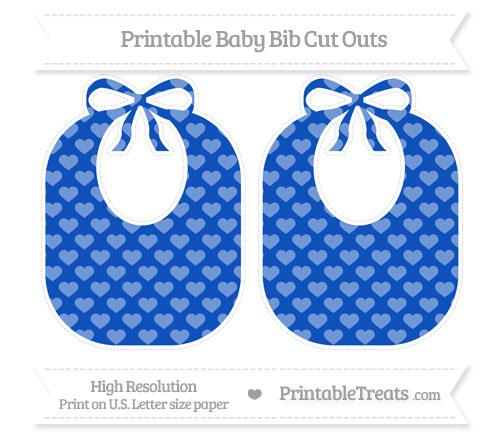 Free Sapphire Blue Heart Pattern Large Baby Bib Cut Outs