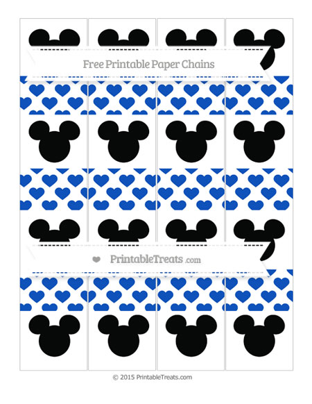 Free Sapphire Blue Heart Pattern Mickey Mouse Paper Chains