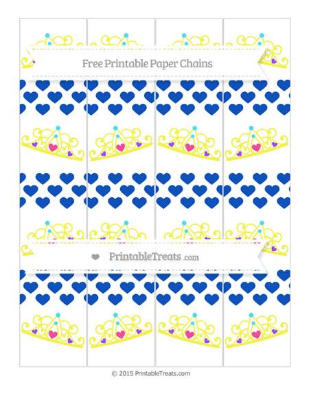 Free Sapphire Blue Heart Pattern Princess Tiara Paper Chains
