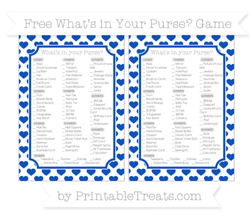 Free Sapphire Blue Heart Pattern What's in Your Purse Baby Shower Game