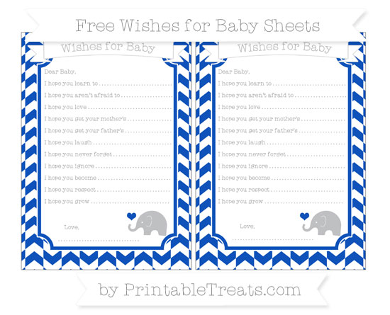 Free Sapphire Blue Herringbone Pattern Baby Elephant Wishes for Baby Sheets