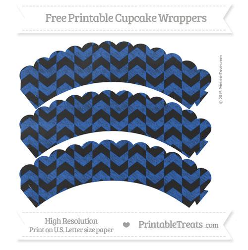 Free Sapphire Blue Herringbone Pattern Chalk Style Scalloped Cupcake Wrappers
