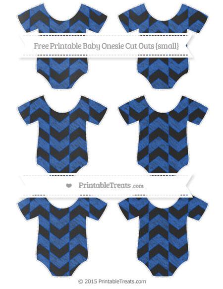 Free Sapphire Blue Herringbone Pattern Chalk Style Small Baby Onesie Cut Outs