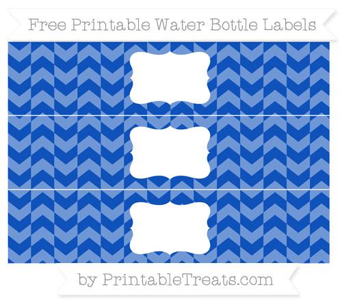Free Sapphire Blue Herringbone Pattern Water Bottle Labels