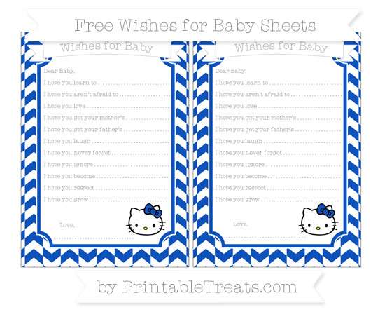 Free Sapphire Blue Herringbone Pattern Hello Kitty Wishes for Baby Sheets