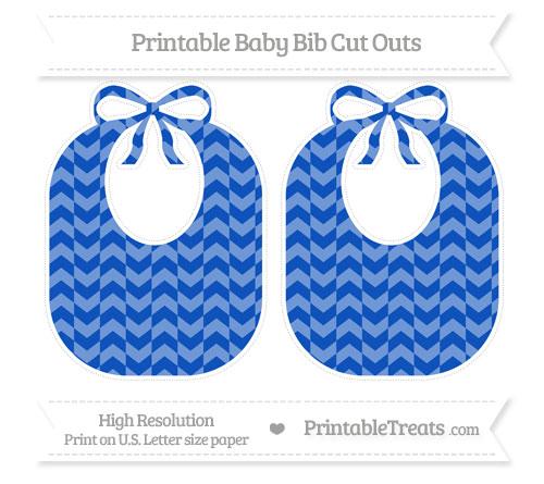 Free Sapphire Blue Herringbone Pattern Large Baby Bib Cut Outs