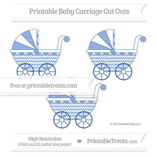 Free Sapphire Blue Herringbone Pattern Medium Baby Carriage Cut Outs