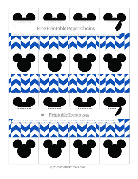 Free Sapphire Blue Herringbone Pattern Mickey Mouse Paper Chains