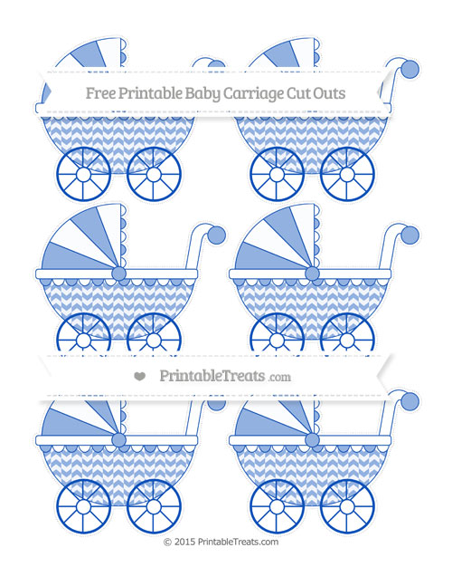 Free Sapphire Blue Herringbone Pattern Small Baby Carriage Cut Outs