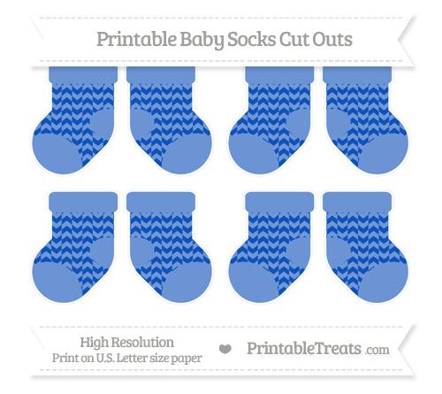 Free Sapphire Blue Herringbone Pattern Small Baby Socks Cut Outs