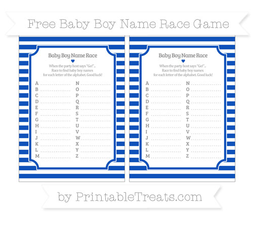 Free Sapphire Blue Horizontal Striped Baby Boy Name Race Game