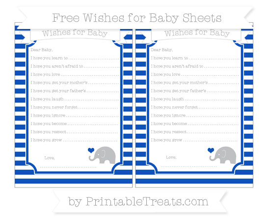 Free Sapphire Blue Horizontal Striped Baby Elephant Wishes for Baby Sheets