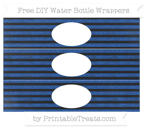 Free Sapphire Blue Horizontal Striped Chalk Style DIY Water Bottle Wrappers