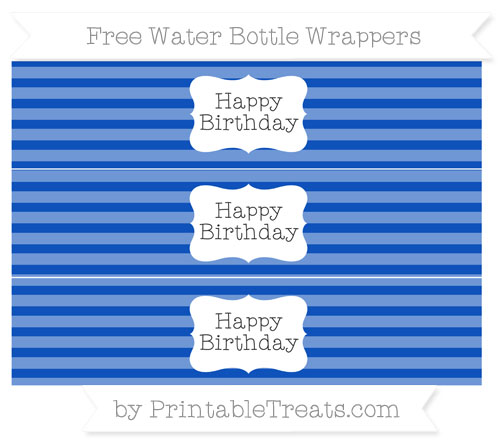 Free Sapphire Blue Horizontal Striped Happy Birhtday Water Bottle Wrappers