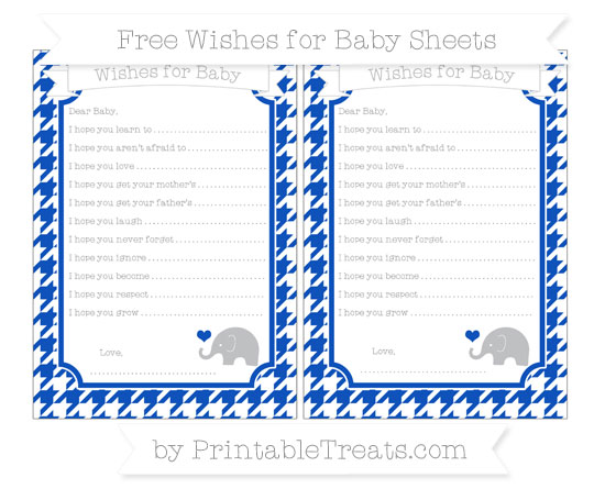 Free Sapphire Blue Houndstooth Pattern Baby Elephant Wishes for Baby Sheets
