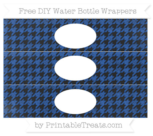 Free Sapphire Blue Houndstooth Pattern Chalk Style DIY Water Bottle Wrappers