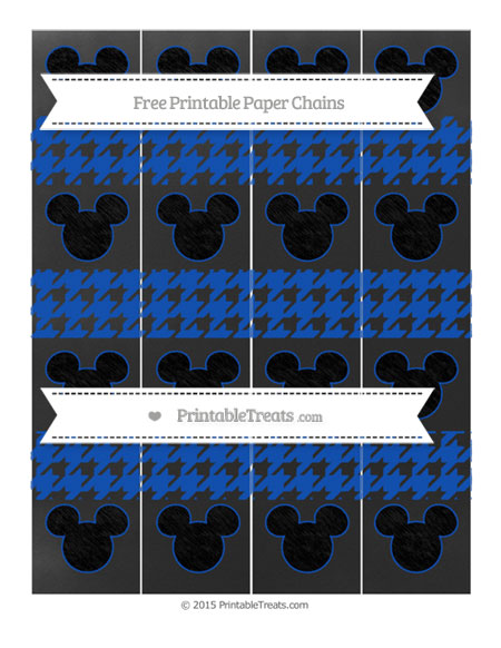Free Sapphire Blue Houndstooth Pattern Chalk Style Mickey Mouse Paper Chains