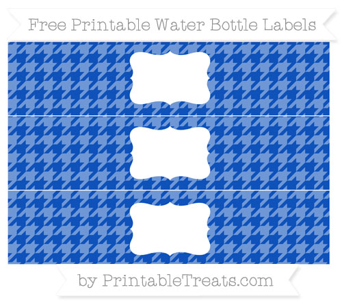Free Sapphire Blue Houndstooth Pattern Water Bottle Labels