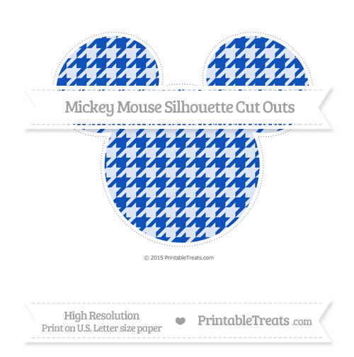 Free Sapphire Blue Houndstooth Pattern Extra Large Mickey Mouse Silhouette Cut Outs