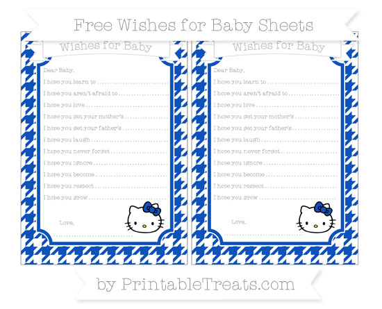 Free Sapphire Blue Houndstooth Pattern Hello Kitty Wishes for Baby Sheets