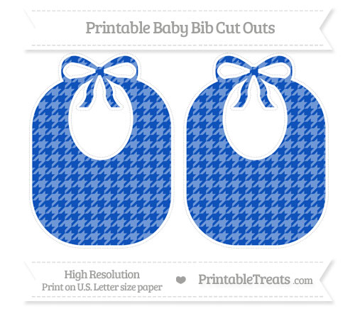Free Sapphire Blue Houndstooth Pattern Large Baby Bib Cut Outs