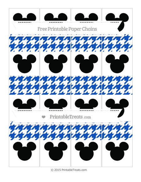 Free Sapphire Blue Houndstooth Pattern Mickey Mouse Paper Chains