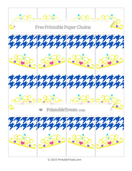 Free Sapphire Blue Houndstooth Pattern Princess Tiara Paper Chains