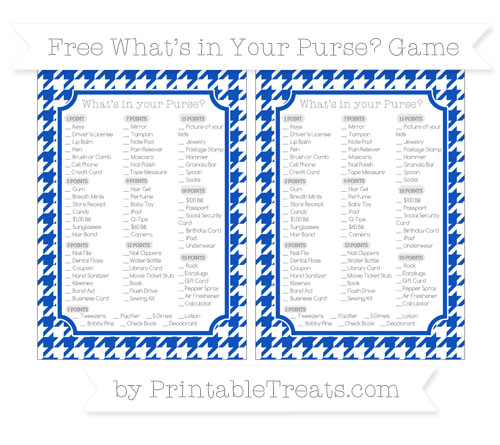 Free Sapphire Blue Houndstooth Pattern What's in Your Purse Baby Shower Game