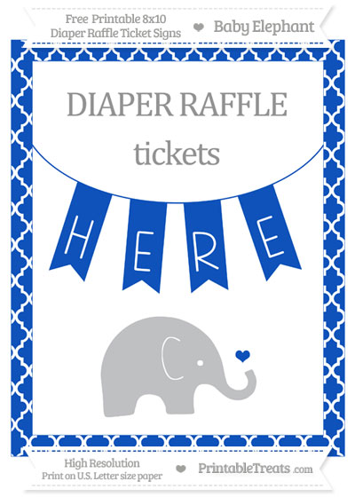 Free Sapphire Blue Moroccan Tile Baby Elephant 8x10 Diaper Raffle Ticket Sign