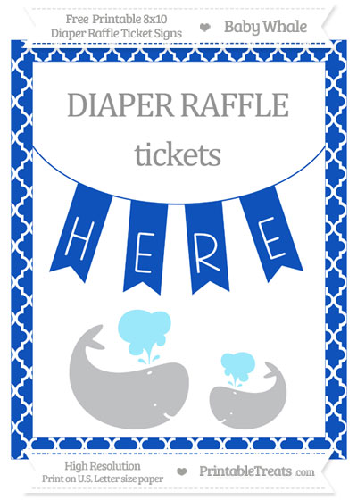 Free Sapphire Blue Moroccan Tile Baby Whale 8x10 Diaper Raffle Ticket Sign