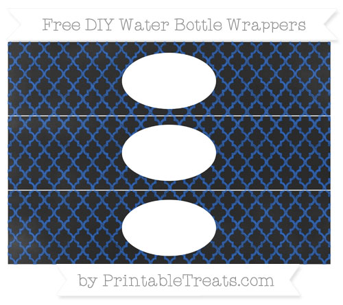 Free Sapphire Blue Moroccan Tile Chalk Style DIY Water Bottle Wrappers