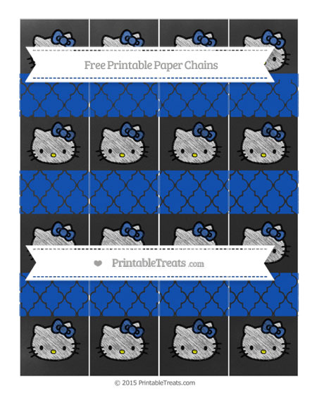 Free Sapphire Blue Moroccan Tile Chalk Style Hello Kitty Paper Chains