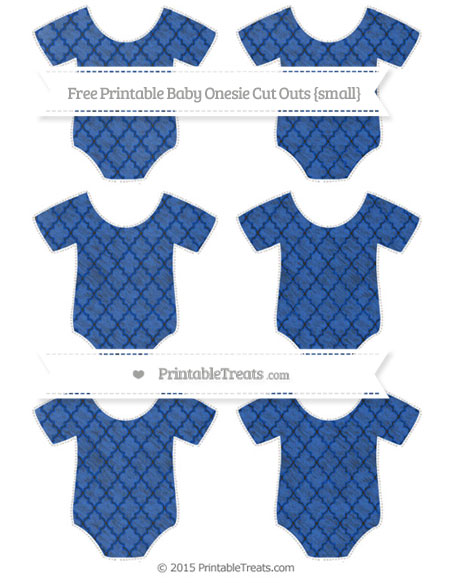 Free Sapphire Blue Moroccan Tile Chalk Style Small Baby Onesie Cut Outs
