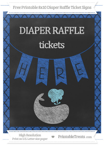 Free Sapphire Blue Moroccan Tile Chalk Style Whale 8x10 Diaper Raffle Ticket Sign