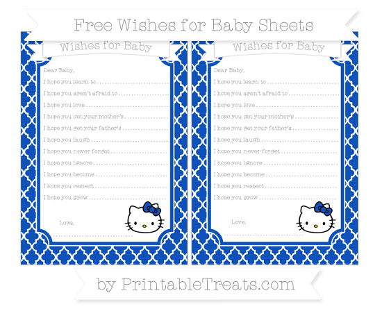 Free Sapphire Blue Moroccan Tile Hello Kitty Wishes for Baby Sheets